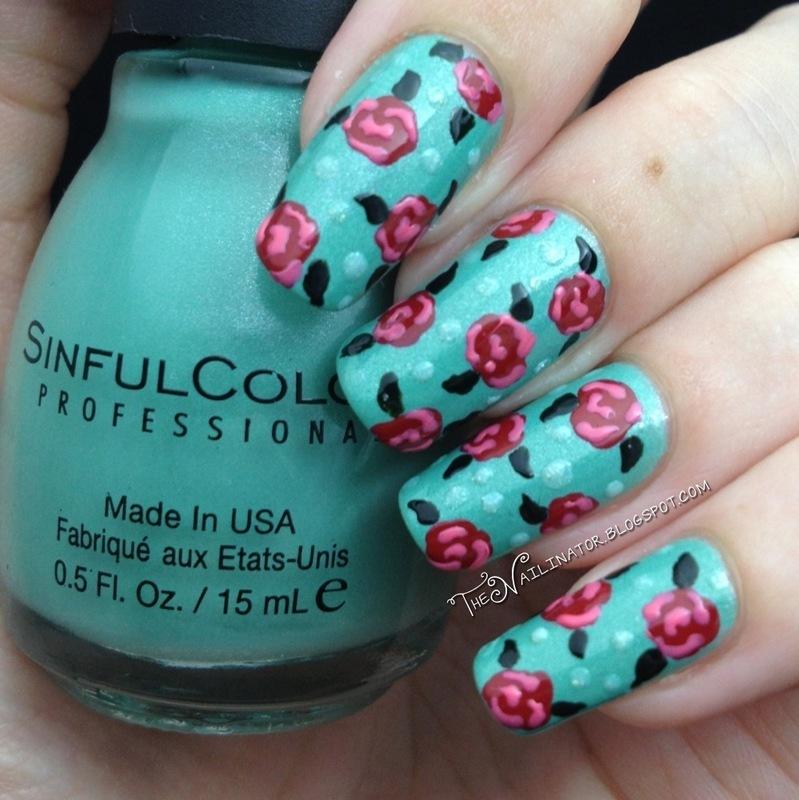 Bold Roses  nail art by Rachael Robinstein