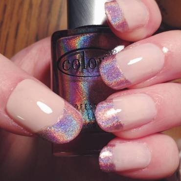 Pink Holographic French Tips nail art by Anya Qiu