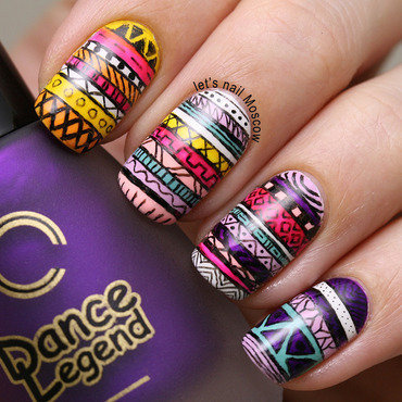 tribal aztec nail art / nails :) nail art by Let's Nail Moscow