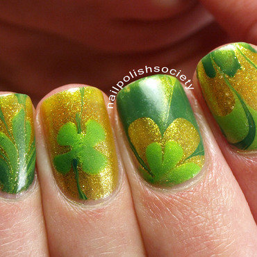 Luck O' the Irish Water Marble nail art by Emiline Harris