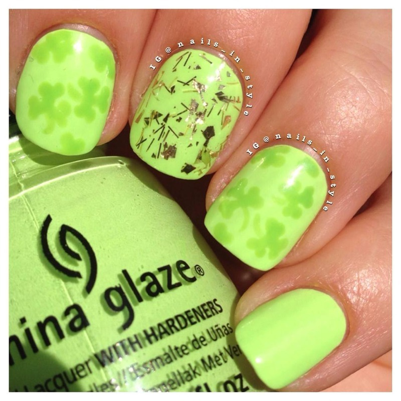 GimmeSome Gold and Clover nail art by Nails_In_Style
