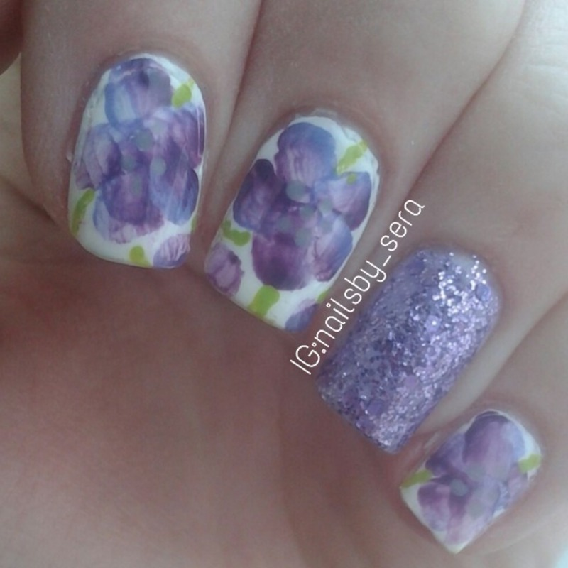 Watercolor Flowers nail art by Sera Knott