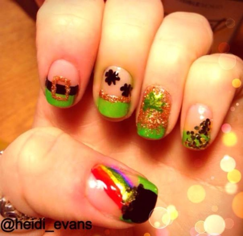 St. Patty's Day nail art by Heidi  Evans