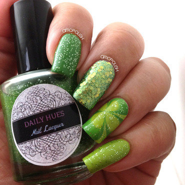 St. Patrick's Day Green nail art by Amber Connor