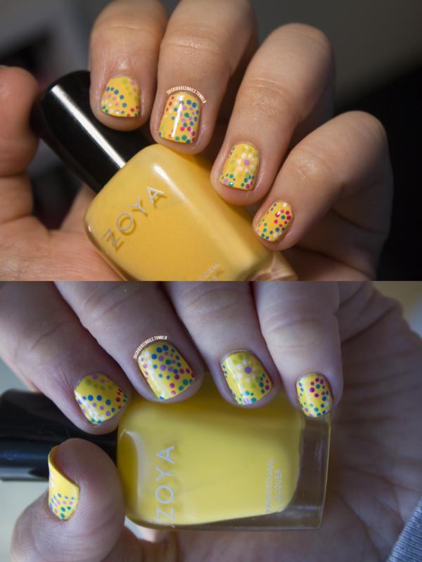 Yellow Dot Explosions nail art by moon doggo