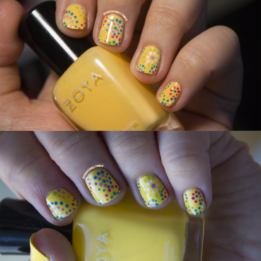 Nail art   yellow dots thumb370f