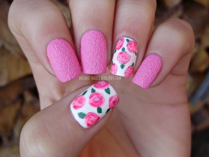 Pink textured roses nail art by Sanela