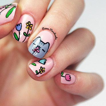 Cat Pusheen and spring nail art by Panna Marchewka
