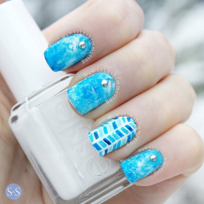 Grungy blue with chevron accent  nail art by SweetnShimmering