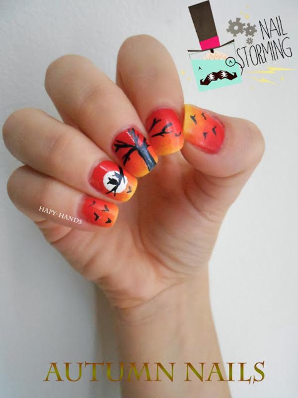 Autumn nail art by Sarah Anaïs