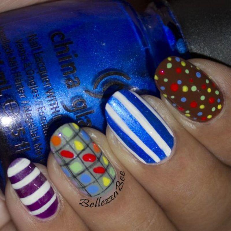 Candy Crush-ing nail art by Naomi Hing