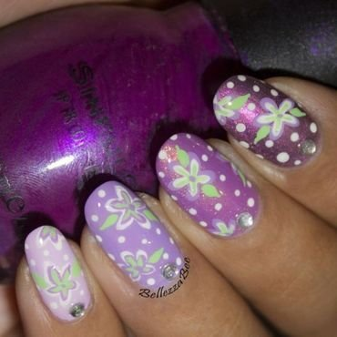 Vintage Purple nail art by Naomi Hing