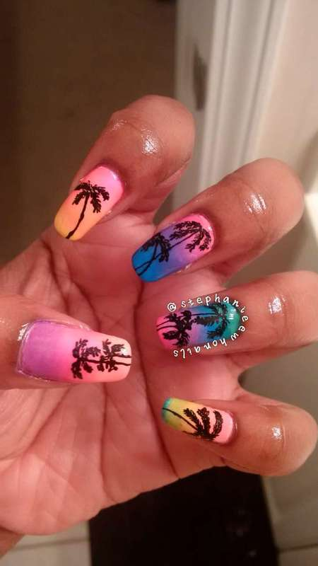 Tropical gradient sunrise/sunset with palm trees. nail art by stephanieewho