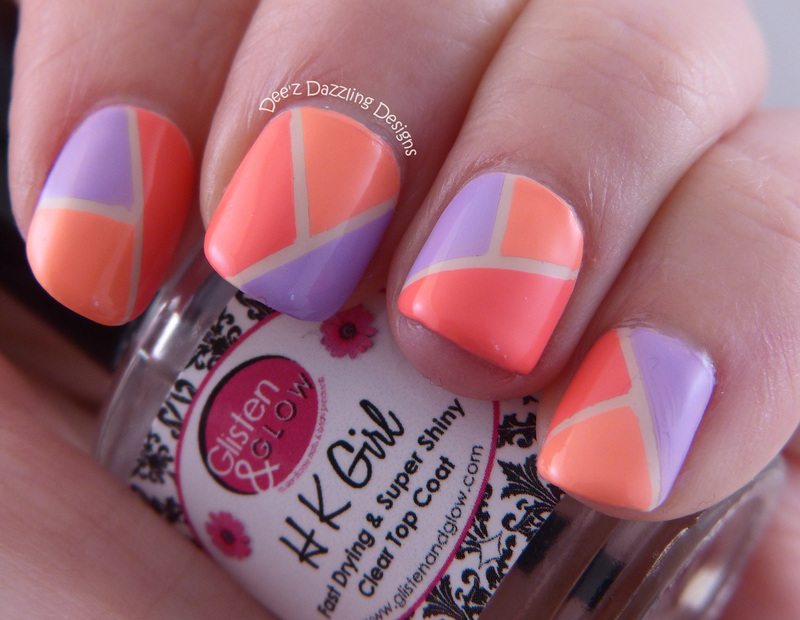 Bright Spring Colorblock nail art by Denise