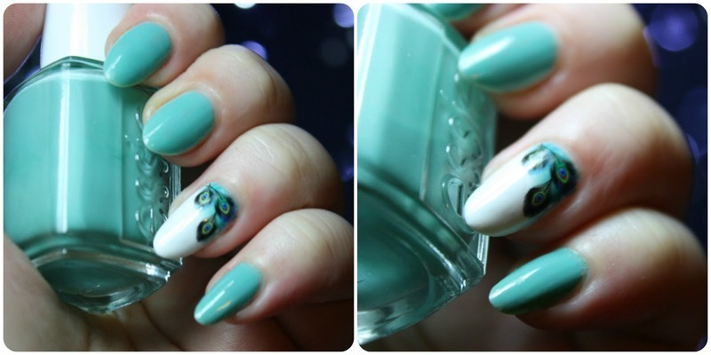 Peacock Feather nail art by Pepperandcoco