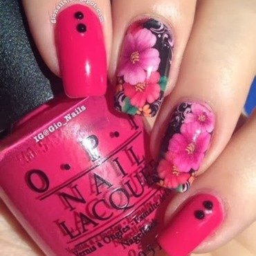 Pink Flowers nail art by Giovanna - GioNails