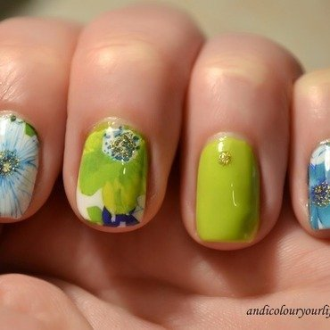 Water decal flowers nail art by Andrea  Manases