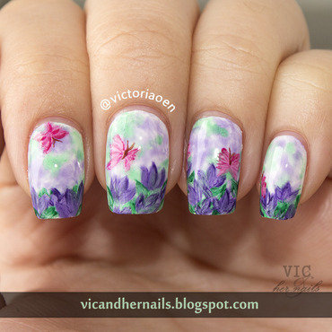 Purple Flowers nail art by Victoria Oen