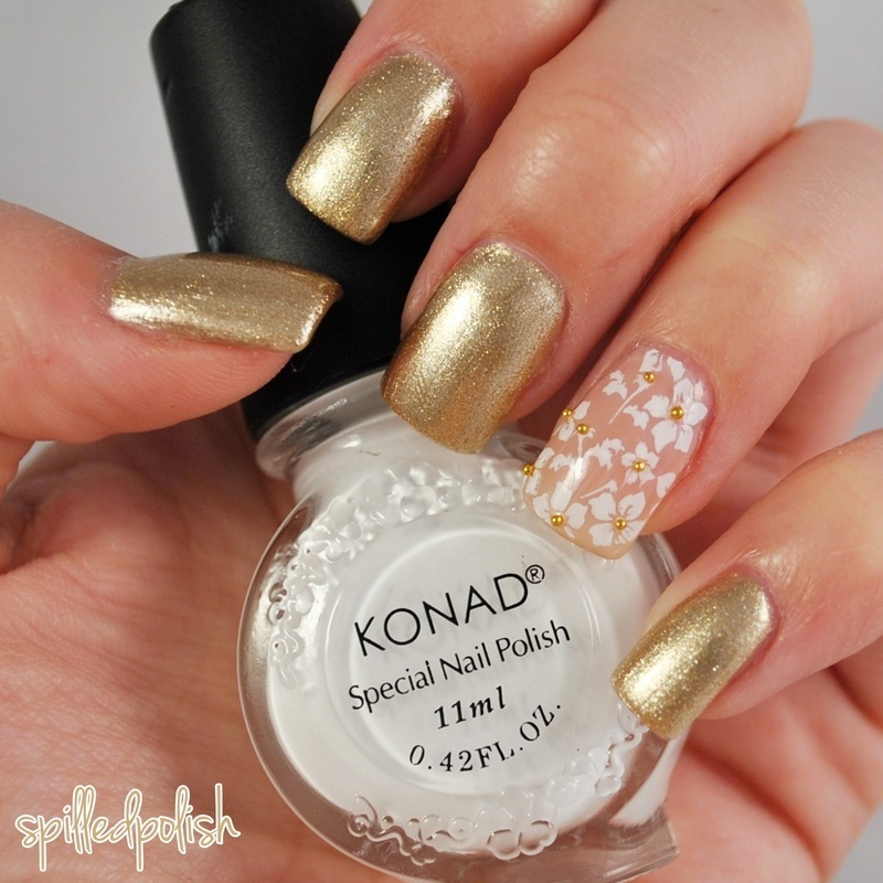 Golden Floral Print nail art by Maddy S