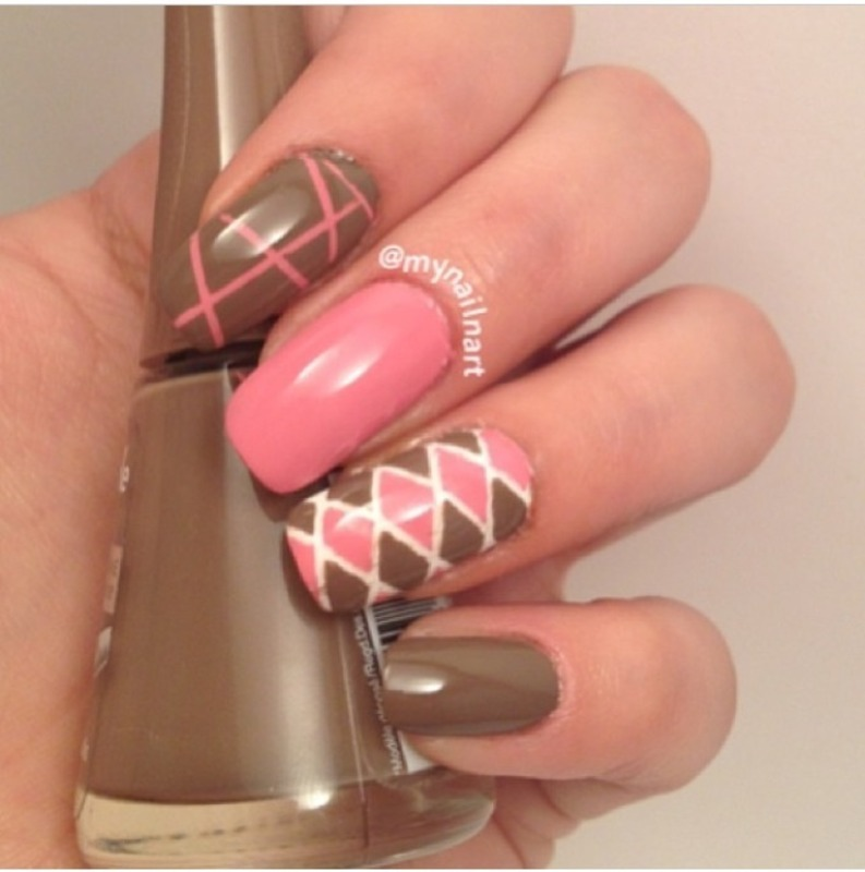 pink & brown nail art by mynailnart