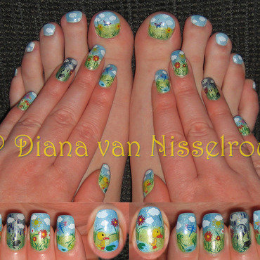 Spring Showers, April Flowers nail art by Diana van Nisselroy