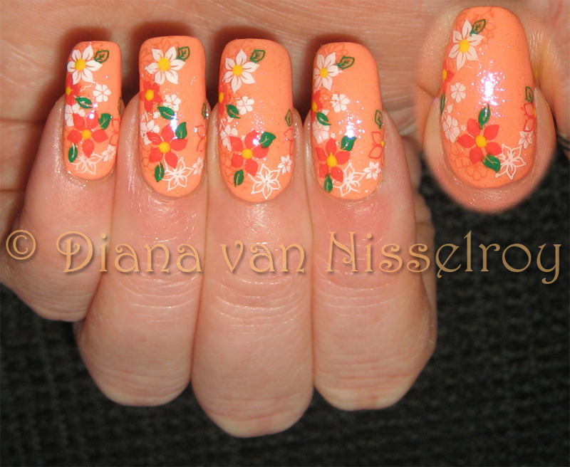 Spring flowers nail art by Diana van Nisselroy