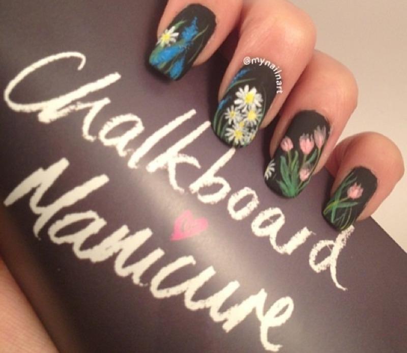chalkboard manicure nail art by mynailnart