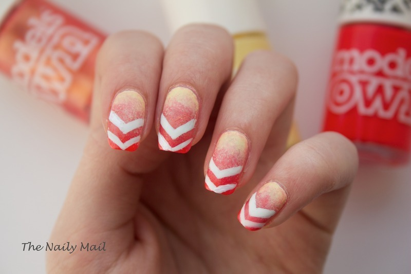 Sunset Chevrons nail art by The Naily Mail