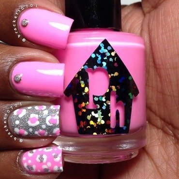 Leopard Print and Neon nail art by Nicole Brackett
