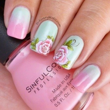 Rose gradient nail art by Michelle