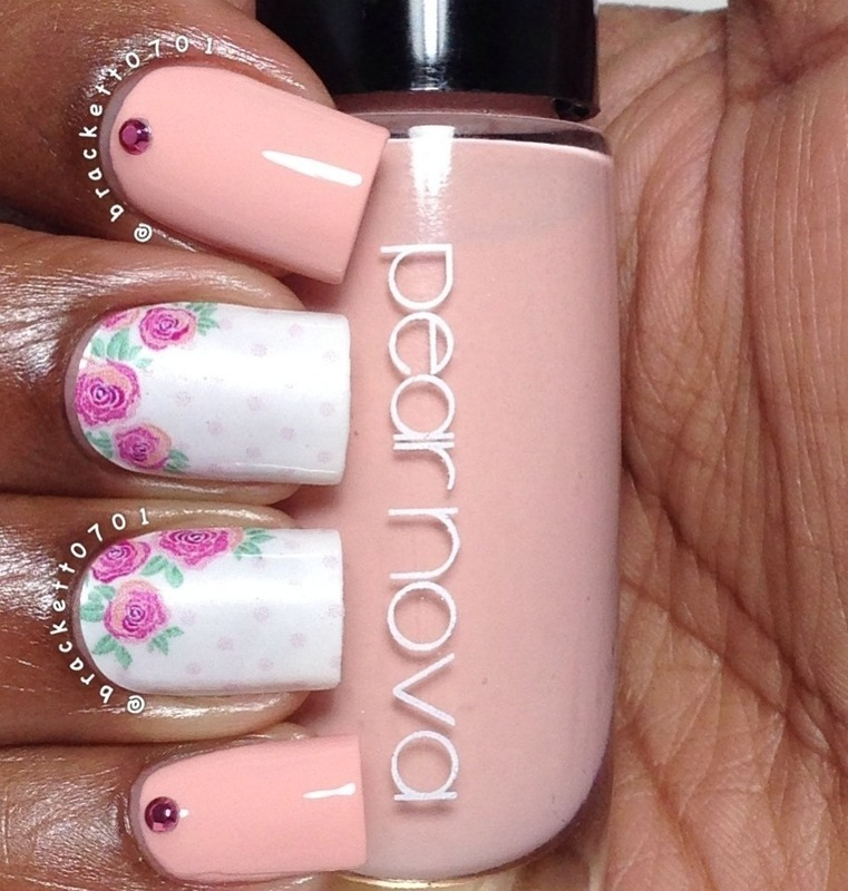 Pink and Roses nail art by Nicole Brackett