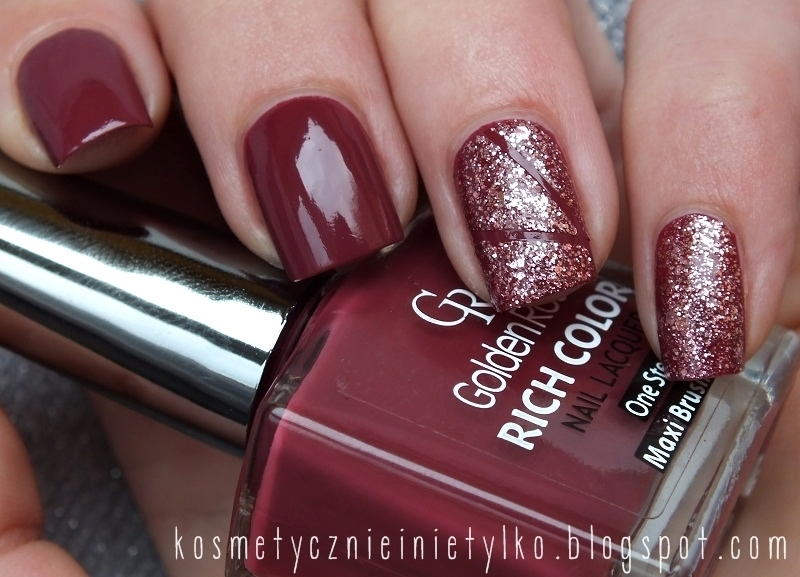 Deep red with glitter nail art by Karola