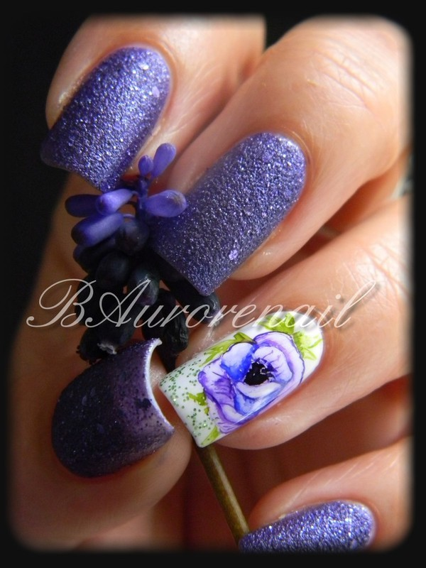 Anémone nail art by BAurorenail