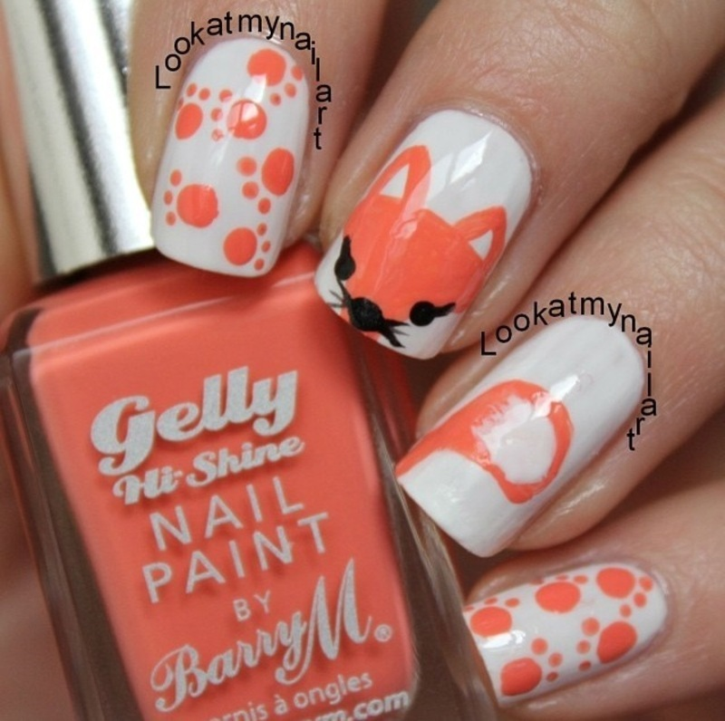 Fox nails nail art by Sabine