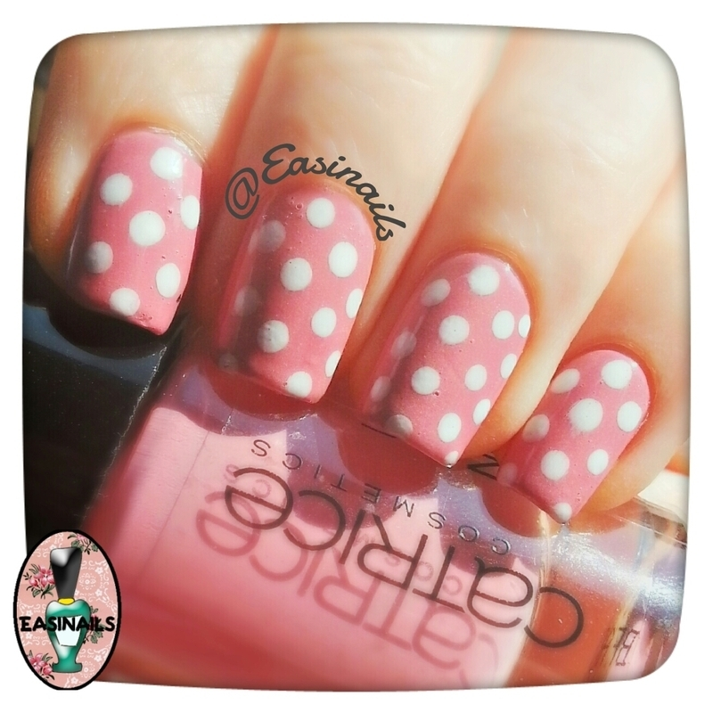 Rose chic dots nail art by Easinails