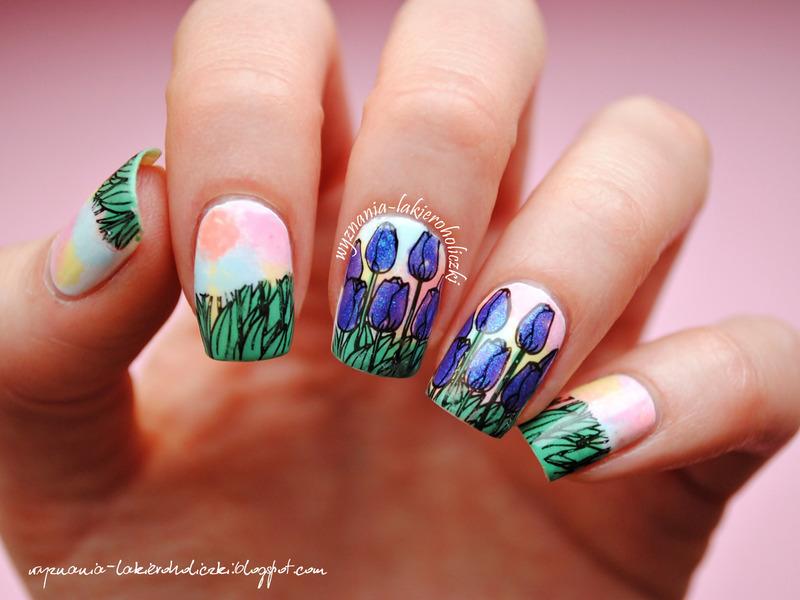 Tulips nail art by Olaa