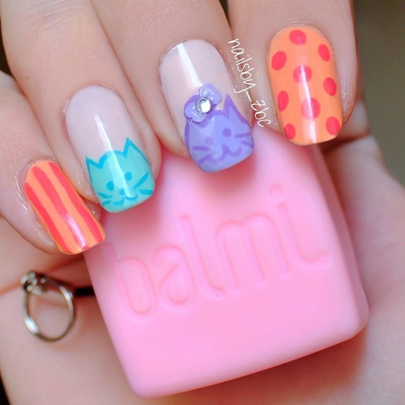 cute meows! :3 nail art by Zeynep Celikel