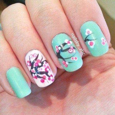 cherry cherry blossom nail art by Zeynep Celikel