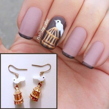white bird nail art by Zeynep Celikel