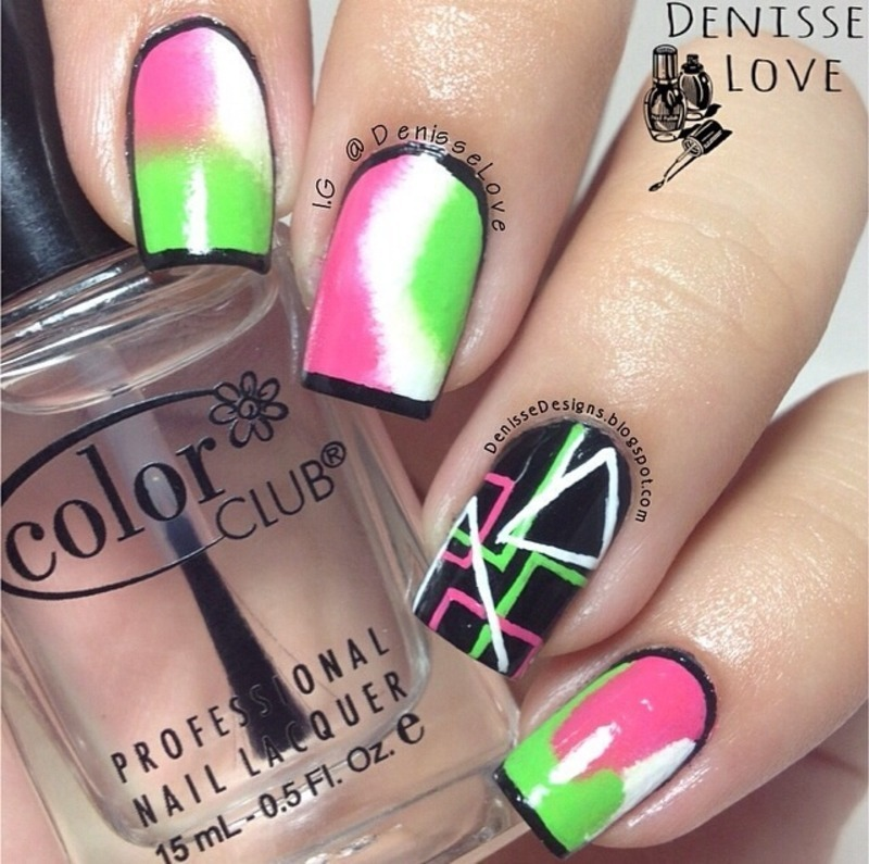 Geometric accent  nail art by Denisse Love
