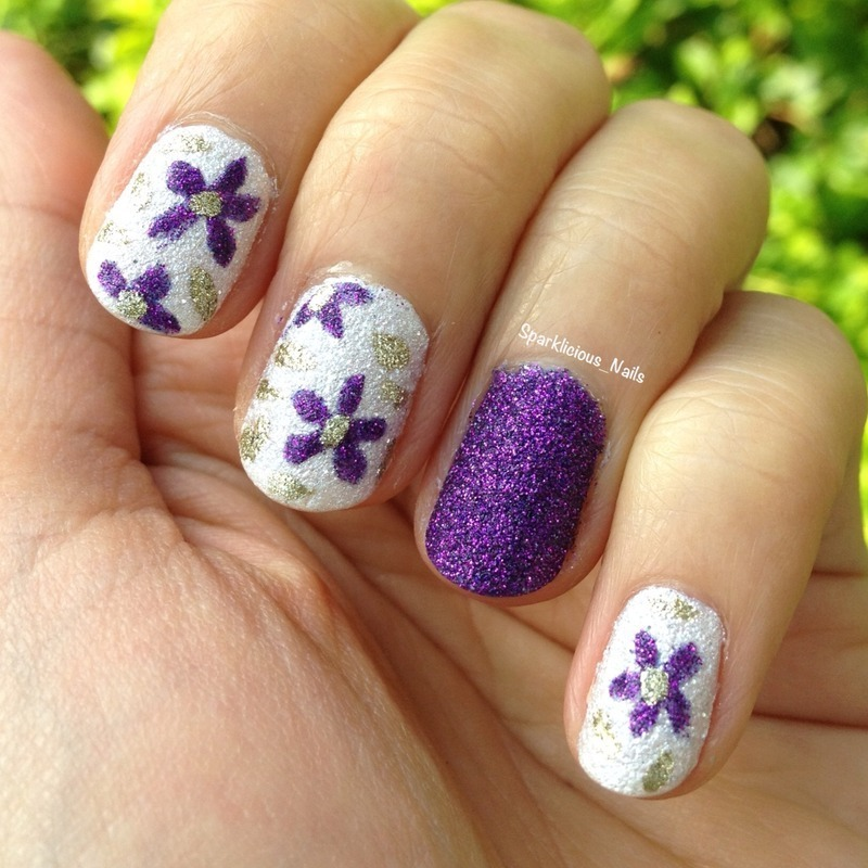"Textured Florals nail art by Amanda ""Sparklicious Nails"""