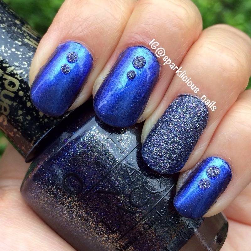 "Blue Me Away nail art by Amanda ""Sparklicious Nails"""