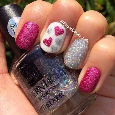 "Glitter Love nail art by Amanda ""Sparklicious Nails"""