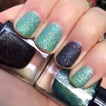 "Canmake Tokyo Effect Nails Zara Zara Colors in Emerald Green and Canmake Tokyo Effect Nails Zara Zara Colors in Sparkling Black Swatch by Amanda ""Sparklicious Nails"""