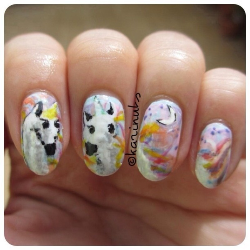 Unicorn nail art by Karina Mahardi
