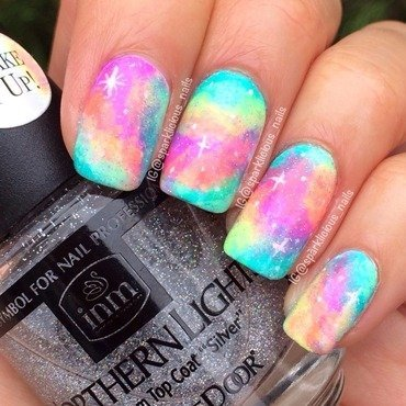 "Spring Neon Galaxy nail art by Amanda ""Sparklicious Nails"""