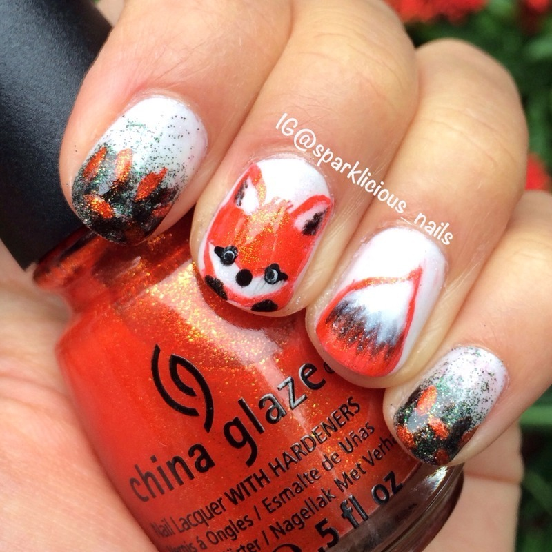 "Feeling Foxy nail art by Amanda ""Sparklicious Nails"""