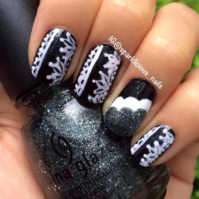 "Black & White nail art by Amanda ""Sparklicious Nails"""