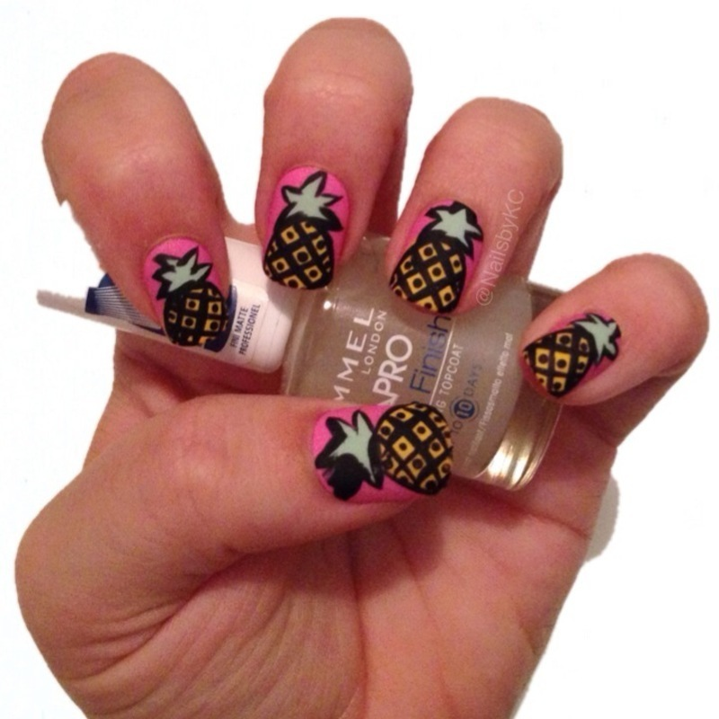 Pineapples nail art by Nails by KC