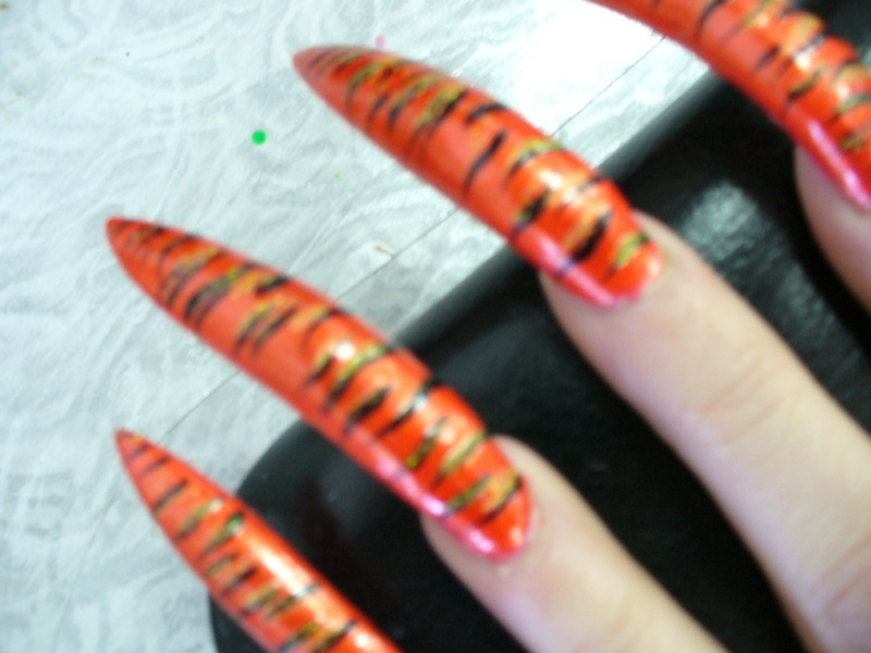 Tiger Nails nail art by Tygerr Recchia